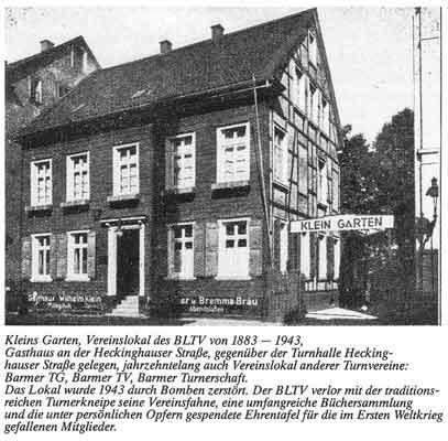"""Vereinslokal """"Kleins Garten"""" (1883-1943)"""